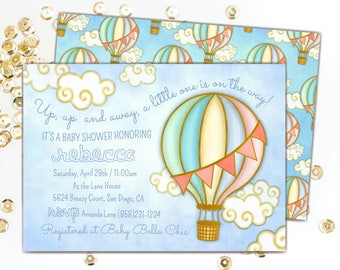 Hot air balloon baby shower invitation up up and away hot air balloon baby shower invitation gender neutral baby shower invitations up up filmwisefo Image collections