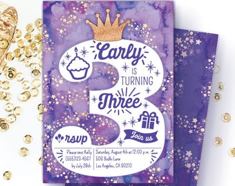 Purple 3rd Birthday Invitation For Girls Turning 3 Toddler Third Party Invite