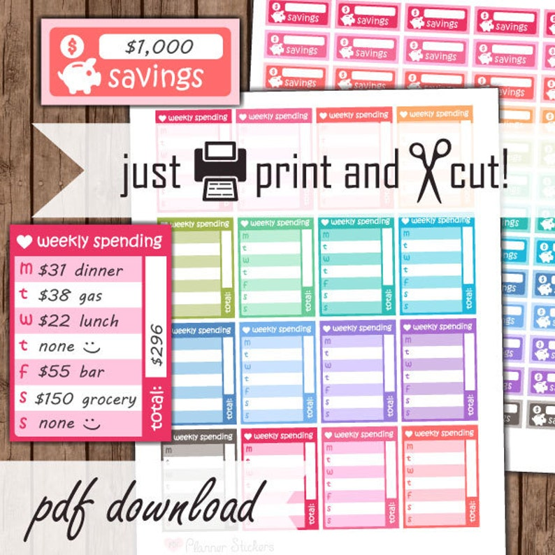Budget Planner Stickers Printable Daily / Weekly Spending image 0