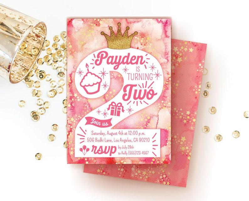 2nd Birthday Party Invitation Princess Printable Invitations Second Invite