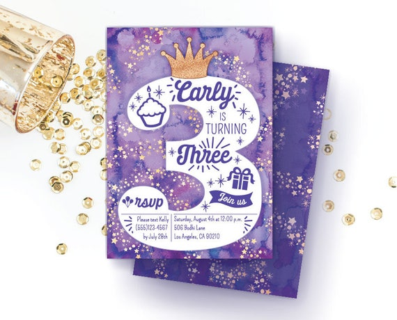 Purple 3rd Birthday Invitation For Girls Turning 3