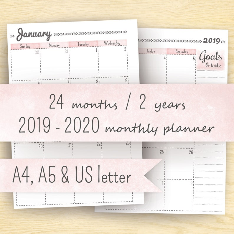 photograph relating to Printable Planner Inserts named Printable Planner Calendar, 2019- 2020 Planner Inserts (2 yr calendar): A5, A4 8.5 x 11 (letter dimension) \u003c\u003c Instantaneous Down load \u003e\u003e