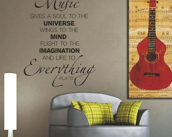 Music gives a soul to the Universe Wall Decal, Removable Vinyl Decal,  Inspirational Quote, Wall Decor