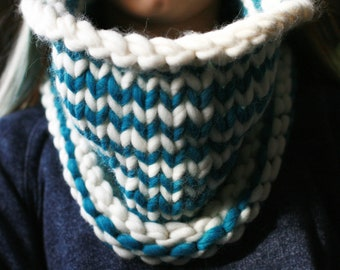 100% Wool - Turquoise and White Striped Cowl