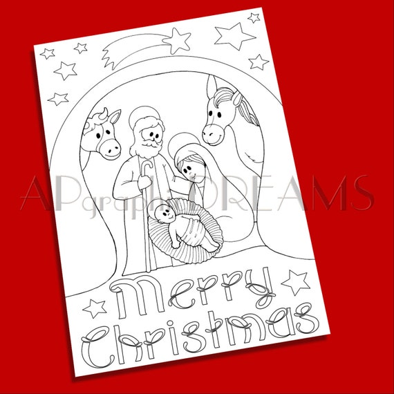 Nativity Scene Coloring Pages Or Printable Xmas Coloring Nativity Coloring Page Christmas Printables Christmas Gifts