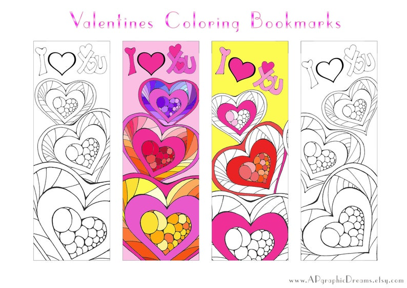 graphic relating to Printable Valentines Bookmarks titled Valentines coloring bookmarks as Printable present for fans, Hearts coloring bookmarks or grown ups Coloring webpages
