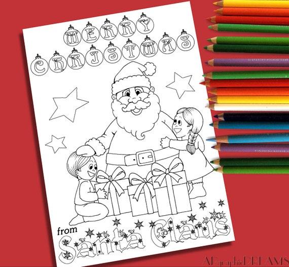 Christmas Coloring Page Printable Xmas Coloring Santa Claus Etsy