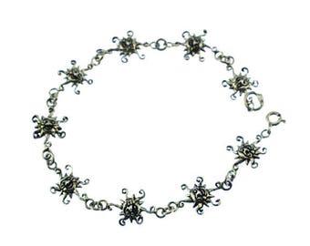 Vintage Sterling Silver Sun Bracelet, Sterling Sun Bracelet, Sterling Silver Chain Bracelet