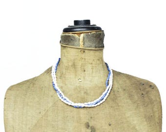 Freshwater Pearl and Lapis Lazuli Necklace with Gold Filled Clasp, Vintage Pearl Necklace, Blue and White Necklace