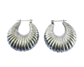 Vintage Sterling Silver Hoop Earrings, Sterling Silver Earrings, Chunky Hoop Earrings, Large Silver Hoop earrings, Large Silver Earrings,