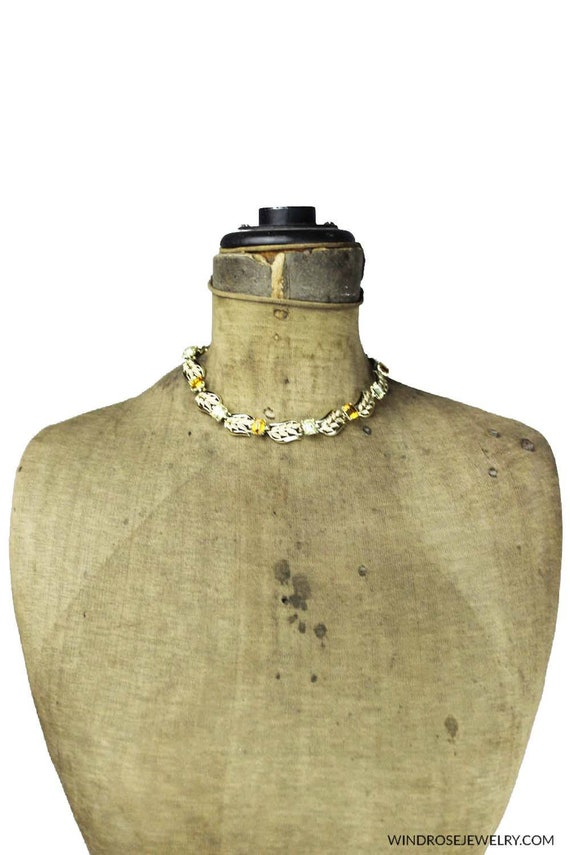 Vintage Coro Gold Leaf Necklace with Large Green R