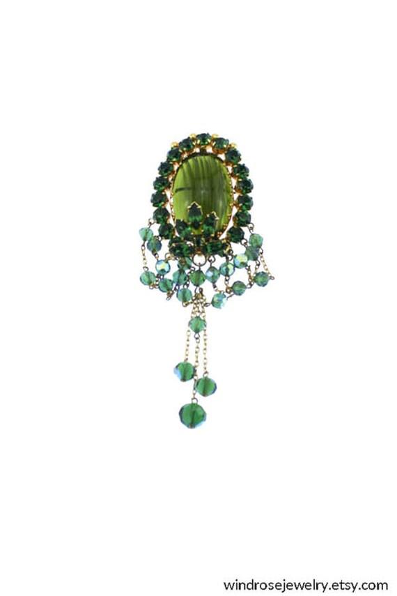 Art Deco Rhinestone Brooch, Dark Green Rhinestone