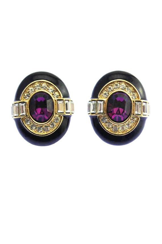 Oscar de la Renta Purple Rhinestone Earrings, Osca