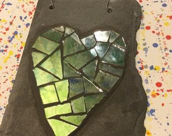 Mirror mosaic heart on slate