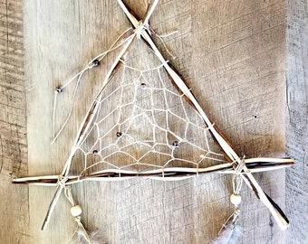 Rustic Wooden Dream Catcher - Green