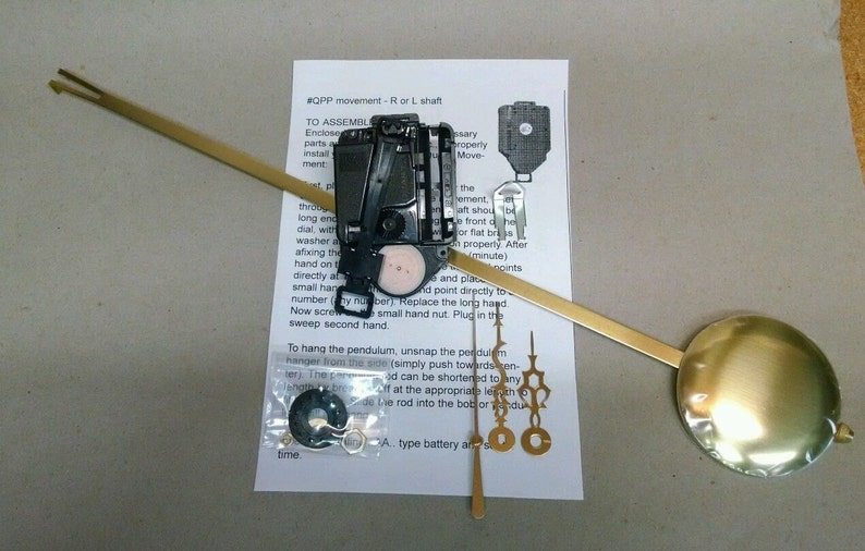 Takane Pendulum Clock Movement with all hardware and choice of hands