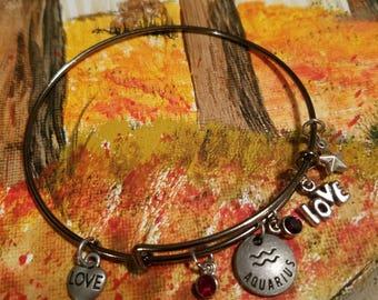 Zodiac Bangle Bracelet, Horoscope, Gunmetal, Adjustable, Aquarius, Pisces, Aries, Taurus, Bangle Bracelet, Charm Bracelet, Birthstone Charm