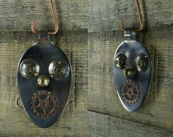 Recycled spoon Face Pendant By Richard Miller