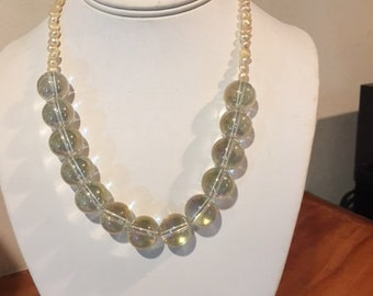 Contemporary Necklace: Glass Silver Orbs with Pearls to Finish