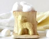 vintage ceramic lamb sheep planter tree trunk brown yellow nursery decor sheep lamb storage
