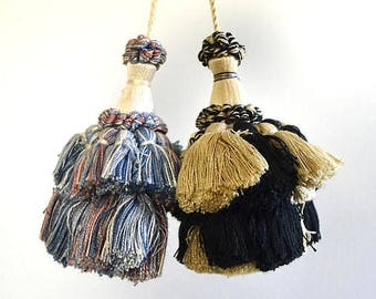 Vintage TWO Door Tassels Key Tassels Drawer Tassels Puffy Tassels