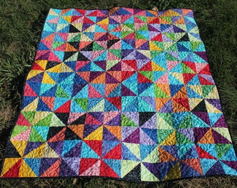 Pinwheels kaleidoscope quilt colorful free-motion blanket throw boundless  batik collection half-square triangles 9087f688bb