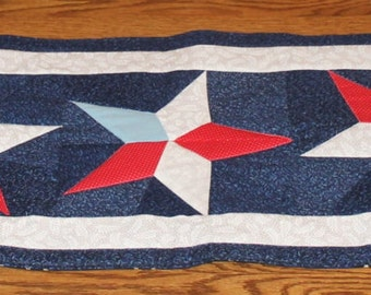 Table Runner/fourth of July/red, white and blue/patriotic/gift/4th of July/quilted table runner/stars/rectangle table runner/FREE SHIPPING