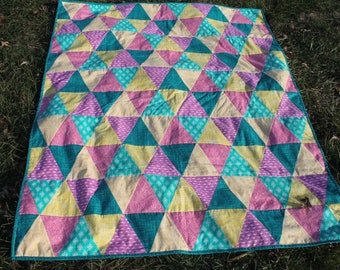 baby quilt/toddler quilt/triangles/soft baby quilt/greens-yellows-pink-purple/free shipping