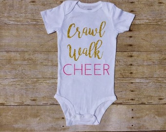 38382b99ce5 Crawl Walk Cheer, Cheerleader baby Outfit, Cheer Baby, Girl bodysuit, Baby  Girl Outfit, Baby Girl Clothes, Cheer Outfit, megaphone Butt