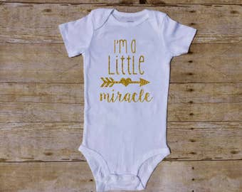 I'm a little miracle, miracle baby, preemie, nicu, ivf, newborn shower, newborn going home outfit, little miracle, rainbow baby, newborn