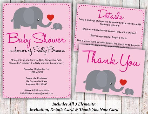 Cute Elephant Pink Baby Shower Invitation Details Card