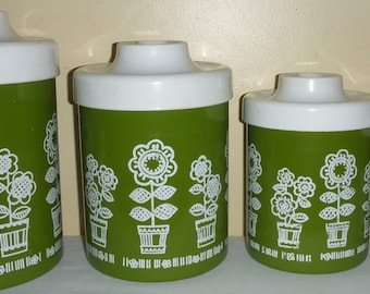 Vintage Retro 1970's Olive Green & Floral 4 Piece Nesting Metal Canister Set made in the U.S.A. by Atapco