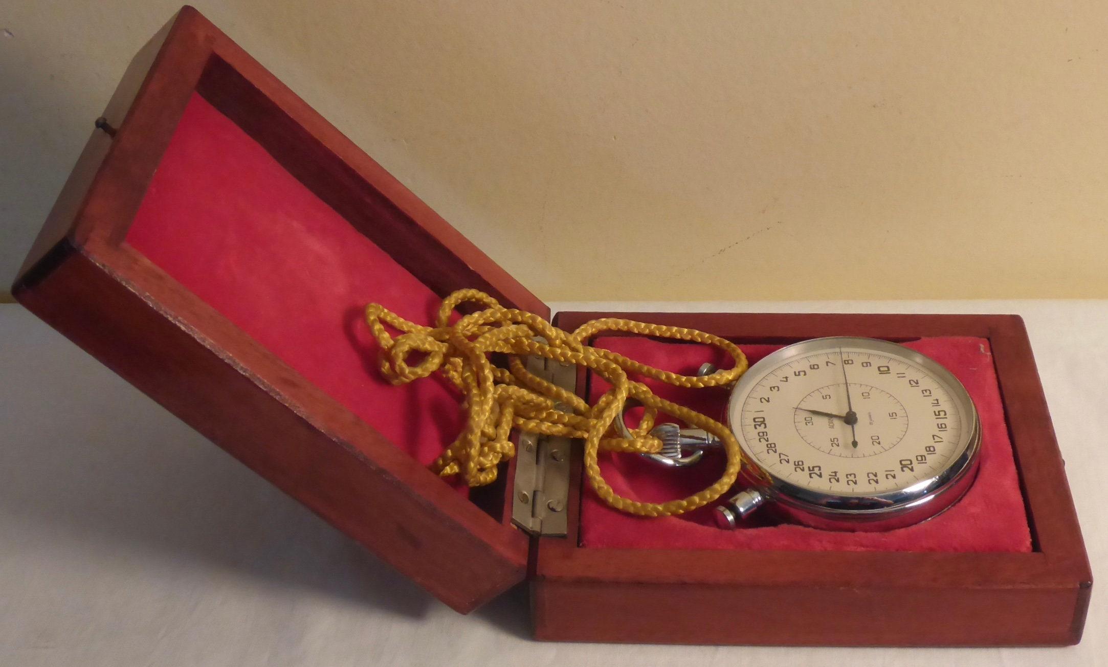 Vintage Adanac 20 Jewel Stopwatch in Original Wooden Case