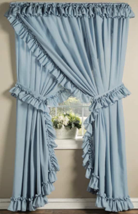 Priscilla Cottage Cortinas Con Volantes, Blue Priscilla Curtains