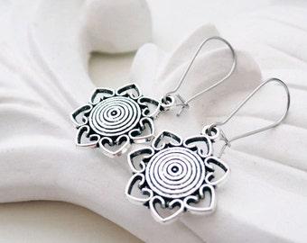 Silver Flower Earrings | Silver Heart Earrings