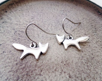 Silver Fox Earrings | Animal Lover Earrings | Woodland Earrings