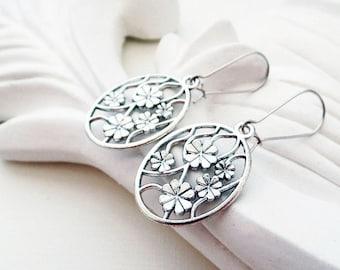 Large Silver Flower Earrings | Silver Boho Earrings