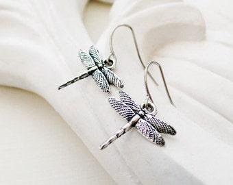 Silver Dragonfly Earrings | Silver Insect Earrings | Boho Earrings