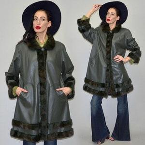 Vintage ZASPEL Camel Geometric PATCHWORK Deer Suede Draped Kimono Cape Hippy 70s Patent Metallic Slouchy Blanket Poncho Festival Leather
