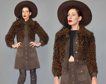 Vintage ALASKA Spanish Fur Couture Curly Afro Cropped Hippie Collector's Jacket Studded Sturdy Leather Hippie 70er Pointy Collar Cape Wrap S