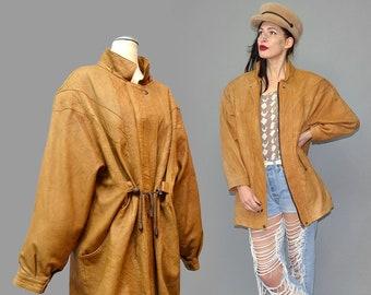 Vintage GSOUMA Deer Hide Wrinkle Leather Batwing Draped Anorak Windbreaker Jacket Cape Minimalist Camel Tassel Fringe Valentino Logo Studded