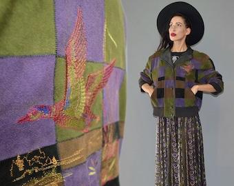 Vintage ZASPEL Duck Embroidered Garb Folklore Gypsy Bomber Knitted Cuff Boyfriend Aviator Blouson Jacket Cape Checkerboard Patchwork 80s L