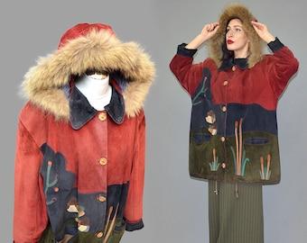 Vintage Unique Art Deco Pig Suede Velours Leather Patchwork Embroidery Duckscape Shaggy Raccoon Fur Hooded Anorak Parka Jacket Oversize Cape