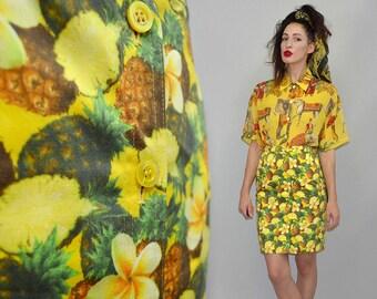 Vintage ESCADA Margaretha Ley Pineapple Pencil Skirt 90er Tiki Dress Designer 34 Tulip Bombshell Pop Art Photorealistic Blogger High Waist S