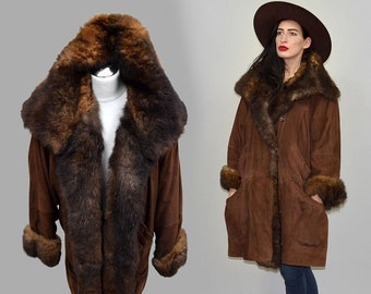 Vintage HUGE Statement Shawl Collar Shaggy POSSUM Fur Parka Winter Coat Suede Anorak Draped Parachute Blanket Slouch Drawstring Oversize XL