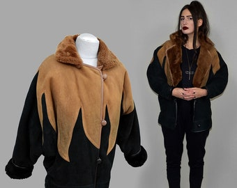 Vintage Shearling Sheep / Lamb Fur Inlaid Embroidery Patchwork Aviator Flight Pilot Bomber Jacket Winter Cape Poncho Blanket Cognac Suede M