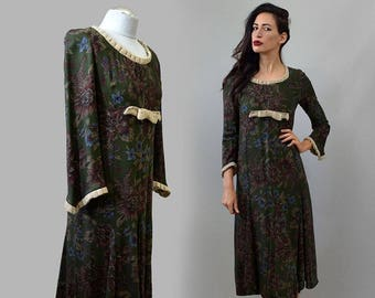 Vintage Empire Waist Medieval Goddess Flared Calf Length Floral Tapestry Rayon Dress Victorian Edwardian Maid Gown Bow Embellished Larp S/M