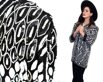Jahrgang Tiered Art Deco Blatt Perle Bestickt Verziert Verkrustete  Pailletten Indische Seide Chiffon Jacke Drapiert Mantel 80er Jahre Tut 20er  Jahre Rara ...