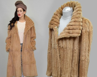 Vintage Rare Peachy Dusky Apricot Beige Dyed Real Russian Squirrel Fur Lining / Overcoat Draped Swing Tent Princess Cape Coat Furrier 70s L
