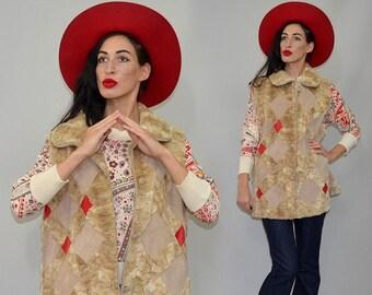 Vintaage Geometric Art Deco Patchwork Blonde Mink Fur Red Leather Mosaic Tent Flared Hippie 80s Boho Cape Jacket Gilet Vest Suede Camel -XL
